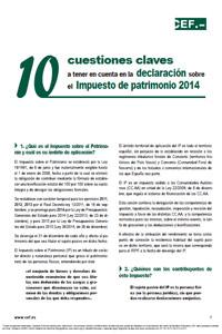 10 cuestiones claves en la declaración sobre el Impuesto de Patrimonio 2014