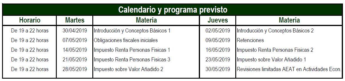 Calendario y Programa previsto de Barcelona