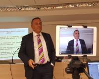 Eugenio Lanzadera, durante su conferencia que fue difundida por Facebook Live (Redacción y fotografías: Luis Miguel Belda/Blanca Utrilla)