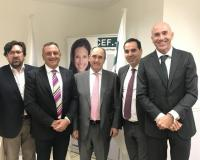 Foto de familia: De izquierda a derecha, Luis Miguel Belda, Eugenio Lanzadera, Roque de las Heras, Antonio Cuevas y Joaquín Danvila