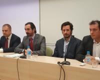 De izquierda a derecha, Raúl Hermández, Arturo de las Heras, Tristán Elósegui y Pedro Bermejo. (Redacción y fotografias: Luis Miguel Belda)